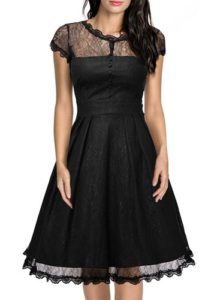 black retro swing dress