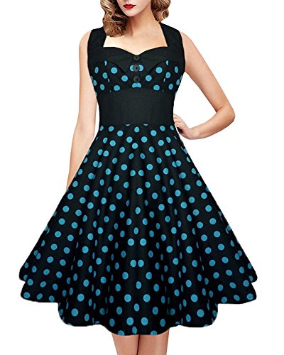 Womens 1950s Vintage Polka Dot Retro Plus Size Halter Neck Tunic