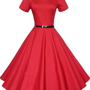 bd0cb698436 iLover Women 1950s V-Neck Vintage Rockabilly Swing Cocktail Evening  Stretchy Casual Work Businees Dress with Pockets