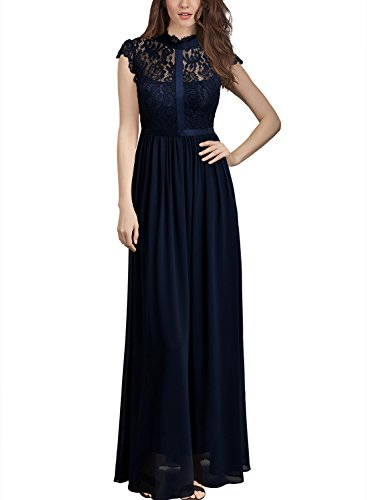 Miusol Women S Formal Floral Lace Cap Sleeve Evening Party Maxi