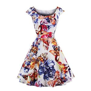 ed9516ec3ae688 KNUS Womens 1950s Floral Printed Vintage Cocktail Party Swing Dress  Cap-Sleeve